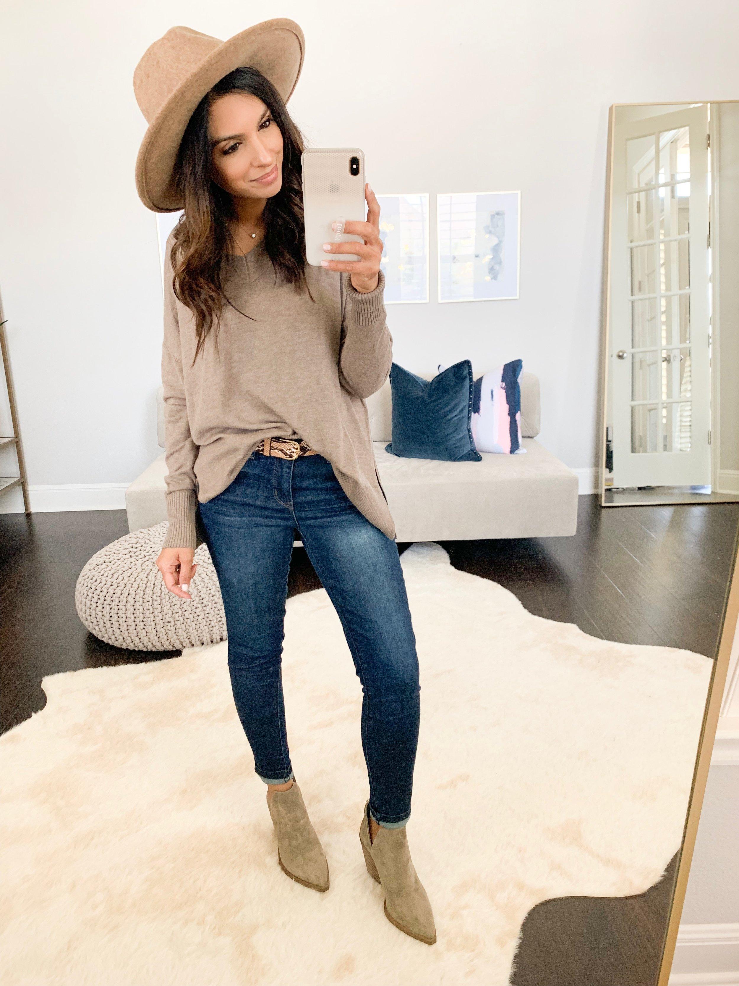Sweater (XS) // Jeans (TTS) // Booties (TTS) // Hat // Belt