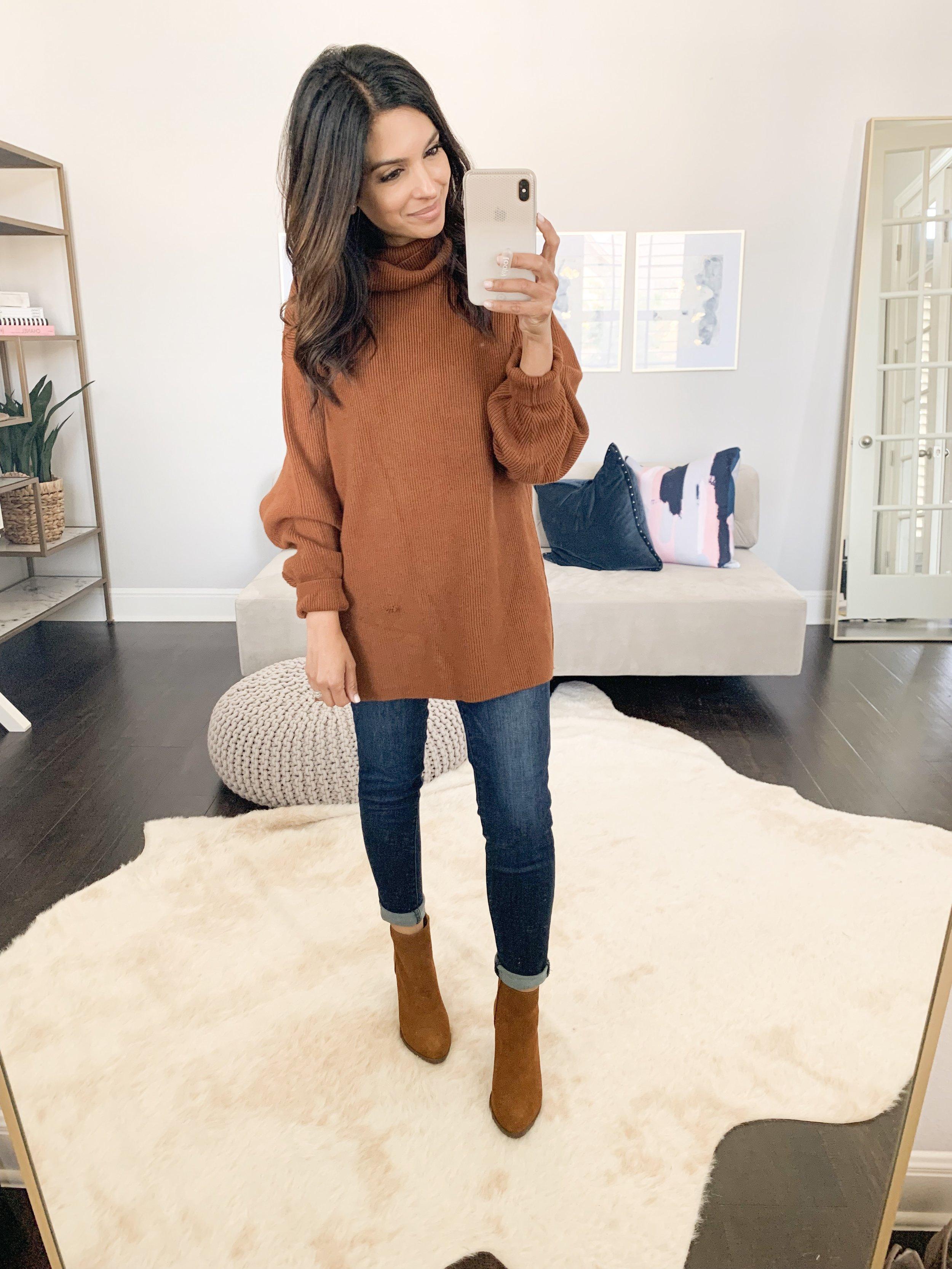 Tunic Sweater (XS) // Jeans (TTS) // Booties (TTS)