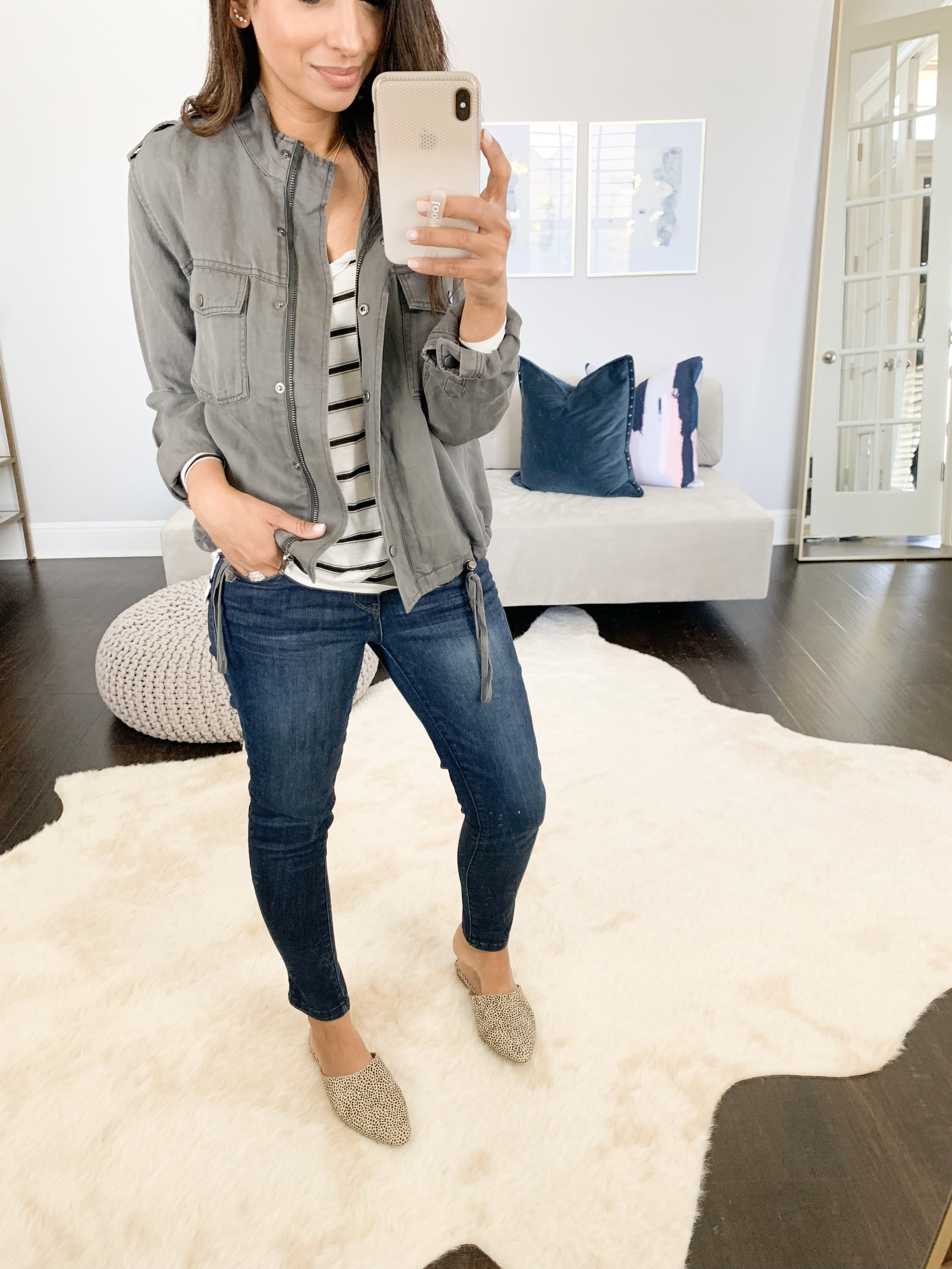 Utility Jacket (XS) // Jeans (TTS) // Mules (TTS but size up if between!)